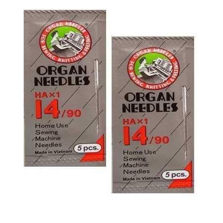 Original Organ Needles NO HA 14 (2 Packs, 10 Needles ) ( Usha / Singer / Brother)